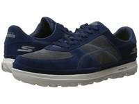 Skechers On The Go Enhance Navy Gray Men's Lace Up Casual Shoes Blue
