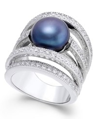 Macy's Black Cultured Freshwater Pearl 10Mm And Cubic Zirconia Multi Row Statement Ring In Sterling Silver