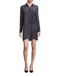 Equipment Clean Lucida Long Sleeve Cheetah Print Shirt Dress Gunmetal