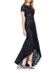 Theia High Low Guipore Lace Gown Navy