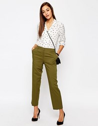 Asos Mid Rise Tailored Tapered Leg Trouser Olive Green