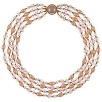 Eclectica Vintage 1950S Gold Plated Glass Bead And Pearl 4 Row Necklace Dusty Rose Lilac