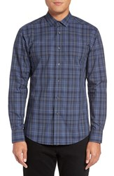 Vince Camuto Men's Trim Fit Print Sport Shirt Navy Grey Check