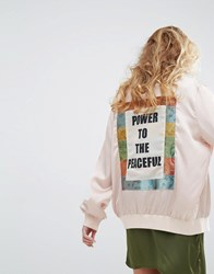 Native Rose Luxury Bomber Jacket With Back Panel Peace Slogan Nude Beige