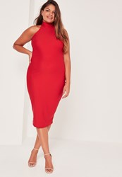 Missguided Plus Size Crepe High Neck Dress Red Red