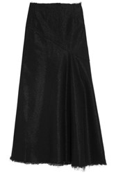 Marques' Almeida Frayed Metallic Denim Maxi Skirt Black