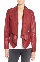 Kut From The Kloth Women's 'Ana' Faux Leather Drape Front Jacket Burgundy