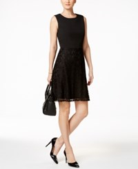 Nine West Lace Fit And Flare Dress Black