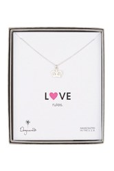 Dogeared Sterling Silver Love Rules Heart Crown Necklace Metallic