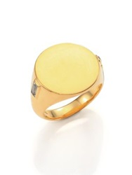 Elizabeth And James Serra White Sapphire Signet Ring Gold