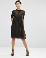 The Whitepepper Shimmer Shirt Dress Gold Grey