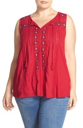 Plus Size Women's Lucky Brand Tassel Tie Tank Crimson Red