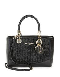 Karl Lagerfeld Textured Leather Satchel Black