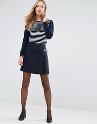 Oasis Navy Kilt With Buckle Navy