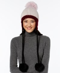 Kate Spade New York Chunky Knit Colorblock Trapper Hat Midnight Wine