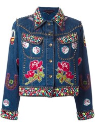 Manish Arora Embellished Denim Jacket Blue