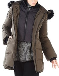 Bcbgmaxazria Carly Faux Fur Trimmed Jacket Olive