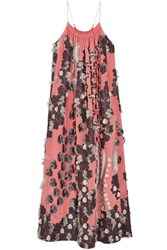 Chloe Floral Fil Coupe Silk Gown Coral