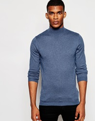 Asos Turtleneck Jumper In Merino Wool Mix Blue