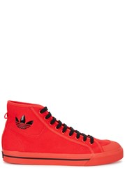 Adidas X Raf Simons Spirit Bright Red Canvas Hi Top Trainers