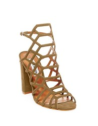 Steve Madden Skales Metallic Leather Dress Sandals Olive Green