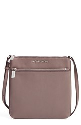 Michael Michael Kors 'Small Riley' Leather Crossbody Bag Beige Cinder Silver