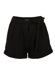 Morgan Pleated Turn Up Chino Style Shorts Black