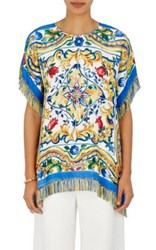 Dolce And Gabbana Women's Floral Silk Blend Poncho Top No Color