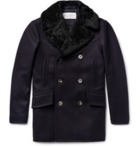 Private White V.C. Manchester Slim Fit Shearling Trimmed Melton Wool Peacoat Blue