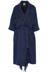 By Malene Birger Wittie Fringed Boucle Coat Navy