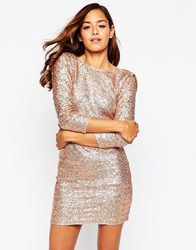 Asos Embellished Cowl Bodycon Mini Dress Taupe