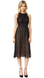 Jason Wu Abstract Houndstooth Lace Racer Back Dress Black