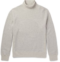 Steven Alan Melange Fleece Back Cotton Jersey Rollneck Sweatshirt Gray