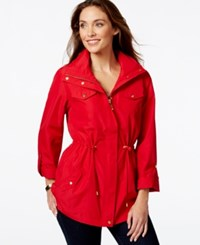 Jm Collection Petite Hooded Solid Anorak Jacket Only At Macy's New Red Amore