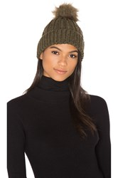 Maison Scotch Faux Fur Pom Pom Beanie Army