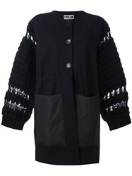 Hache Knit Sleeve Buttone Up Coat Blue