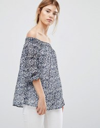 Greylin Jessalyn Off The Shoulder Blouse Pearl Blue