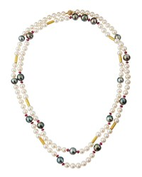 Assael 18K Long Ruby And Tahitian And Freshwater Pearl Necklace Women's