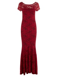 Hotsquash Long Lace Dress With Cap Sleeve Red