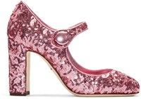 Dolce And Gabbana Pink Sequinned Mary Jane Heels