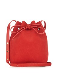 Mansur Gavriel Leather Lined Mini Suede Bucket Bag Red