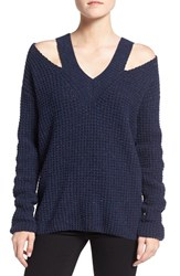 Rebecca Minkoff Women's 'Draco' Waffle Knit Shoulder Cutout Sweater Indigo Multi
