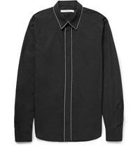 Givenchy Slim Fit Chain Trimmed Cotton Poplin Shirt Black