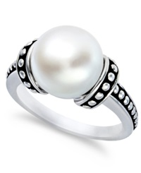 Honora Style Cultured Freshwater Pearl Pallini Ring In Sterling Silver 10 1 2Mm White