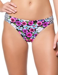 Jessica Simpson Botanica Side Shirred Hipster Bikini Bottom Black Floral