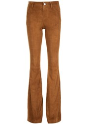 Alice Olivia Flared Suede Trousers Brown