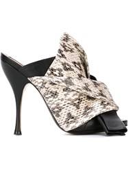 No21 Snakeskin Effect Bow Mules Black