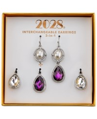 2028 Silver Tone Imitation Pearl Purple And Clear Crystal 3 In 1 Interchangeable Drop Earrings Box Set