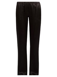 Carine Gilson Straight Leg Silk Satin Pyjama Trousers Black