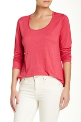Eileen Fisher Scoop Neck A Line Linen Tee Pink